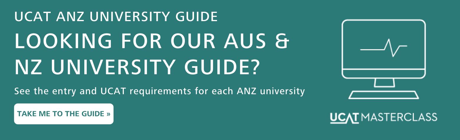UCAT university course guide UK banner for ANZ universities
